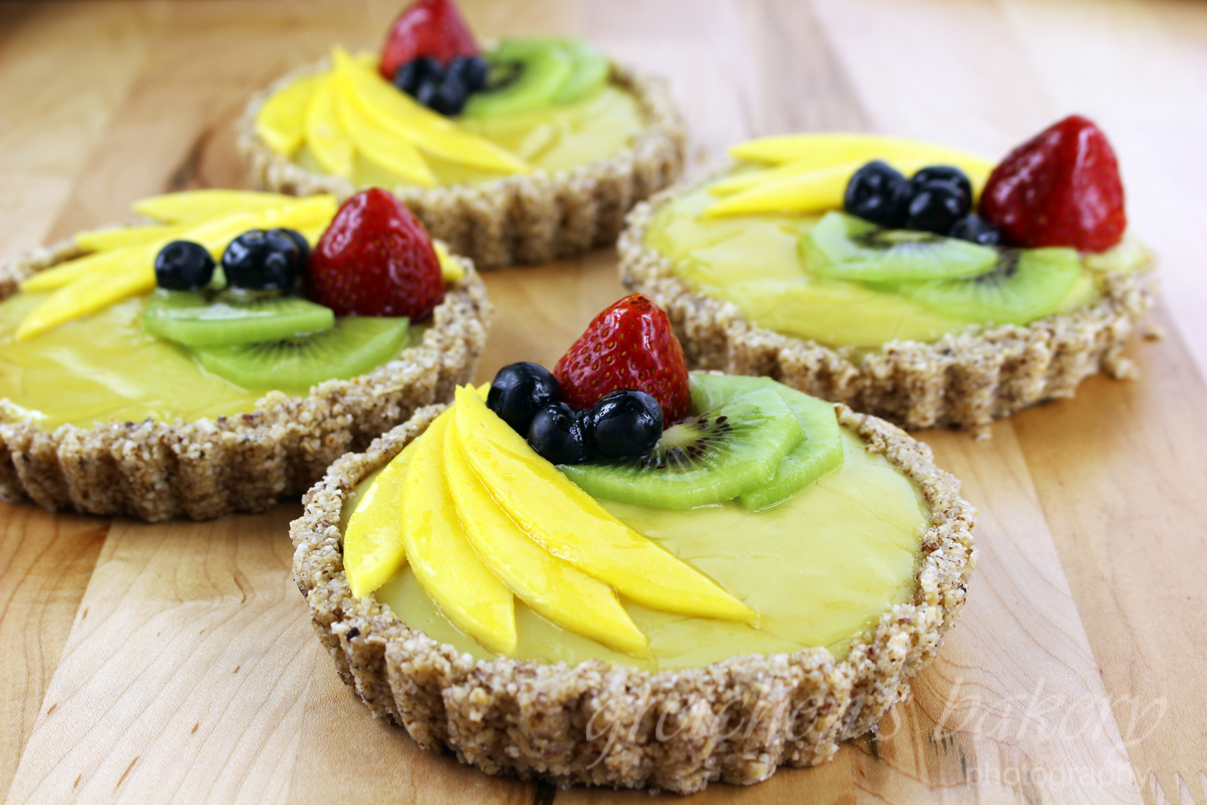 No Bake Summer Fruit and Custard Tart - Gretchens Vegan Bakery